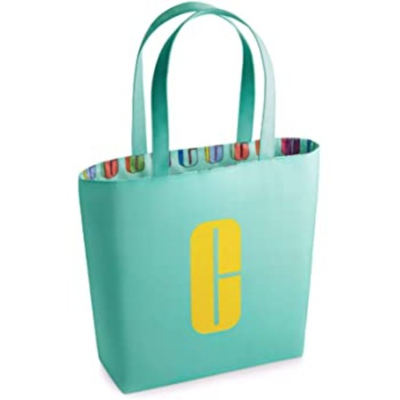 Clinique Handbags - Clinique Teal & Yellow Lined Tote Bag